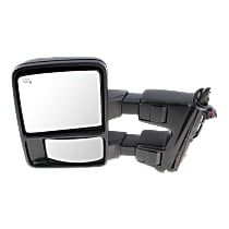 Towing Mirror Power Folding Auto Extend Heated - Driver Side, Power Glass, In-housing Signal Light, With Blind Spot Corner Glass, Textured Black