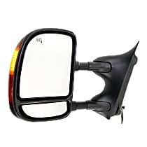 Towing Mirror Manual Folding Heated - Driver Side, Power Glass, In-housing Signal Light, With Blind Spot Corner Glass, Textured Black