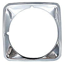 Key Parts 0849-055 L Headlight Bezel - Chrome, Steel, Direct Fit, Sold individually