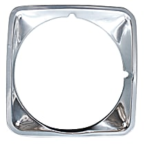 Key Parts 0849-056 R Headlight Bezel - Chrome, Steel, Direct Fit, Sold individually