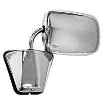 Driver or Passenger Side Mirror - Manual Glass,, Chrome