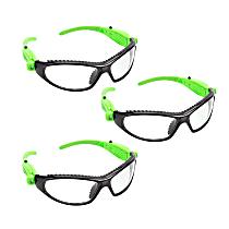 26017PK3 Black and Green LED Safety Glasses (3 Pack)