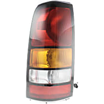 Driver Side Tail Light, With bulb(s) - Amber, Clear & Red Lens, Fleetside, Old Body Style
