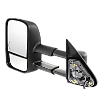 Towing Mirror Manual Folding Heated - Driver Side, Power Glass, In-glass Signal Light, With Blind Spot Corner Glass, Textured Black