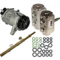 A/C Compressor Kit, Models With Rear A/C, Includes (1) A/C Compressor, (1) Drier Desiccant Element, (2) A/C Orifice Tube, (1) A/C O-Ring and Gasket Seal Kit