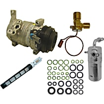 A/C Compressor Kit, Models With Rear A/C, 2nd Design, Includes (1) A/C Compressor, (1) A/C Accumulator, (2) A/C Orifice Tube, (1) A/C O-Ring and Gasket Seal Kit