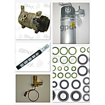 A/C Compressor Kit, Models With Rear A/C, 1st Design, Includes (1) A/C Compressor, (1) A/C Accumulator, (2) A/C Orifice Tube, (1) A/C O-Ring and Gasket Seal Kit