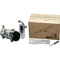 A/C Compressor Kit, Pad Mount Drier, Includes (1) A/C Compressor, (1) A/C Accumulator, (1) A/C Orifice Tube, (1) A/C O-Ring and Gasket Seal Kit