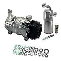 A/C Compressor Kit, Includes (1) A/C Compressor, (1) A/C Accumulator, (1) A/C Orifice Tube, (1) A/C Expansion Valve, (1) A/C O-Ring and Gasket Seal Kit