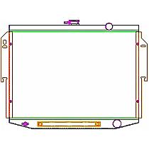 Aluminum Core Aluminum Tank Radiator, 18.75 x 28.25 x 2.68 in. Core Size