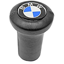 GenuineXL 25-11-1-203-074 Shift Knob Leather with BMW Logo Round Style (Screw-on Type) - Replaces OE Number 25-11-1-203-074