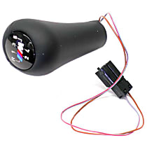 """25-11-2-231-550 Shift Knob (Illuminated) Black Leather with """"M"""" 5-Speed Emblem (Push-on Type) - Replaces OE Number 25-11-2-231-550"""