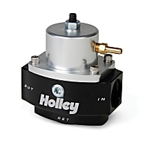 Holley Dominator Billet 12-848 Fuel Pressure Regulator, 40-70 psi, Anodized black and clear, Gas, Return, Sold Individually