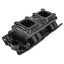 835062 Sniper Intake Manifold, Aluminum, Black, Chevy Small Block V8, Single Plane 2 x 4150, Sold Individually