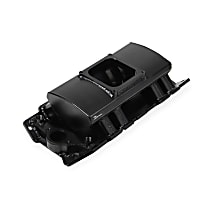 835162 Sniper Intake Manifold, Aluminum, Black, Chevy Small Block V8, Single Plane 1 x 4500, Sold Individually
