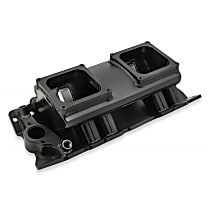 835172 Sniper Intake Manifold, Aluminum, Black, Chevy Small Block V8, Single Plane 2 x 4500, Sold Individually