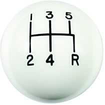 1630014 Shift Knob - White, Plastic, Round, Direct Fit, Sold individually