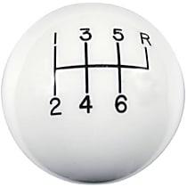 Shift Knob - White, Plastic, Round, Universal, Sold individually