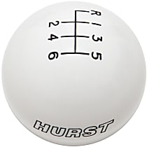 Hurst 1630225 Shift Knob - White, Plastic, Round, Direct Fit, Sold individually