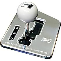 5380403 Shifter Stick - Polished Plate and White Knob, Aluminum, Auto Stick, Direct Fit, Kit