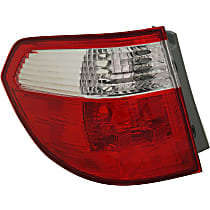 Driver Side, Outer Tail Light, Without bulb(s) - Clear & Red Lens, CAPA CERTIFIED