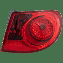 Passenger Side, Outer Tail Light, With bulb(s) - Red Lens, Sedan