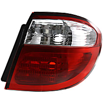 Passenger Side, Outer Tail Light, Without bulb(s) - Clear & Red Lens