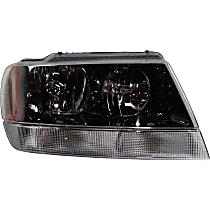 Passenger Side Headlight, With bulb(s) - 99-04 Grand Cherokee (Laredo/Sport/Columbia/Freedom/Special Edition Model), Prod Date from 01/02/2002, w/ clear Turn Signal lens, w/o Wiring harness