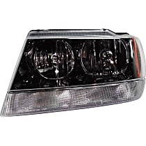Driver Side Headlight, With bulb(s) - 99-04 Grand Cherokee (Laredo/Sport/Columbia/Freedom/Special Edition Model), Prod Date from 01/02/2002, w/ clear Turn Signal lens, w/o Wiring harness