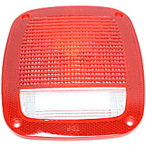 J8129642 Tail Light Lens - Driver or Passenger Side, Red and clear, Plastic, Direct Fit, Sold individually