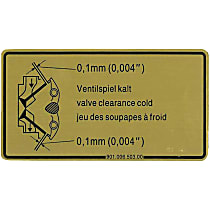 1601500106 Engine Valve Adjustment Specification Decal - Replaces OE Number 901-006-503-00