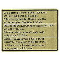 1601500206 Engine Oil Level Specification Decal - Replaces OE Number 911-006-504-01