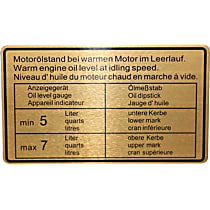 1601501206 Engine Oil Level Specification Decal - Replaces OE Number 901-006-504-01