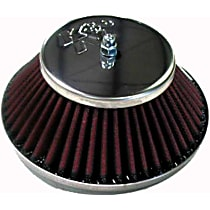 K&N 56-9320 Air Cleaner Assembly - Chrome Top; Red Filter, Cotton Gauze, Oiled, Universal, Assembly