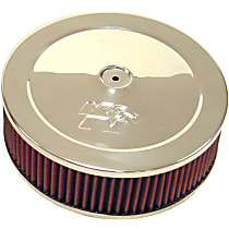 K&N 60-1080 Air Cleaner Assembly - Stainless Steel Top; Red Filter, Cotton Gauze, Universal, Assembly