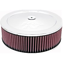 Air Cleaner Assembly - Chrome Top; Red Filter, Cotton Gauze, Universal, Assembly