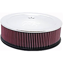 K&N 60-1235 Air Cleaner Assembly - Chrome Top; Red Filter, Cotton Gauze, Universal, Assembly
