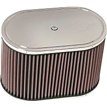K&N E-3491 Universal Air Filter - Red, Cotton Gauze, Washable, Universal, Sold individually