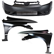 Bumper Cover - Front, Kit, Primed, For Coupe, Includes Fenders