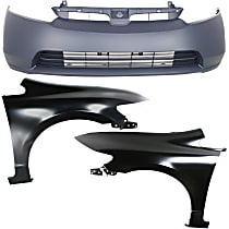Bumper Cover - Front, Kit, Primed, For Sedan, Includes Fenders