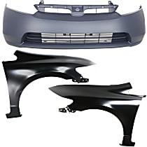 Bumper Cover - Front, Kit, Primed, For Sedan, Includes Fenders