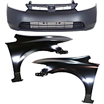 Bumper Cover - Front, Kit, Primed, For Sedan, Includes Fenders, CAPA Certified