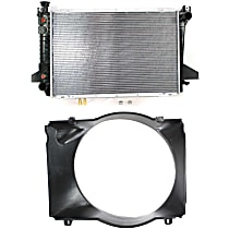 Radiator - 27.57 x 18.13 x 1 in. Core Size, 8 Cyl Engine, with Fan Shroud