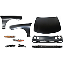 Hood - Primed, with Front Bumper Cover, Front Bumper Reinforcement, Right and Left Fenders, Right and Left Hood Hinges and Right and Left Turn Signal Lights