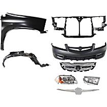 Grille Assembly, Bumper Cover, Headlight, Fender, Splash Shield, Radiator Support, Grille Trim, and Fog Light Kit