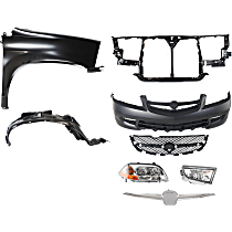 Grille Trim, Bumper Cover, Grille Assembly, Headlight, Fender, Splash Shield, Radiator Support, and Fog Light Kit