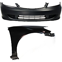 Bumper Cover - Front, Kit, Primed, For Coupe or Sedan, Includes Right Fender