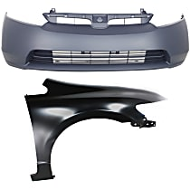 Bumper Cover - Front, Kit, Primed, For Sedan, Includes Right Fender