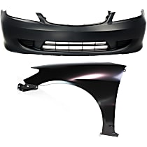 Bumper Cover - Front, Kit, Primed, For Coupe or Sedan, Includes Front Left Fender