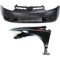 Bumper Cover - Front, Kit, Primed, For Coupe, Includes Front Left Fender